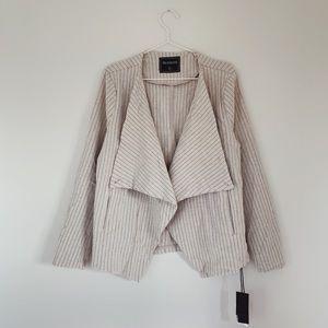 BlankNYC Pinstripe Blazer Jacket Cream Stripe L